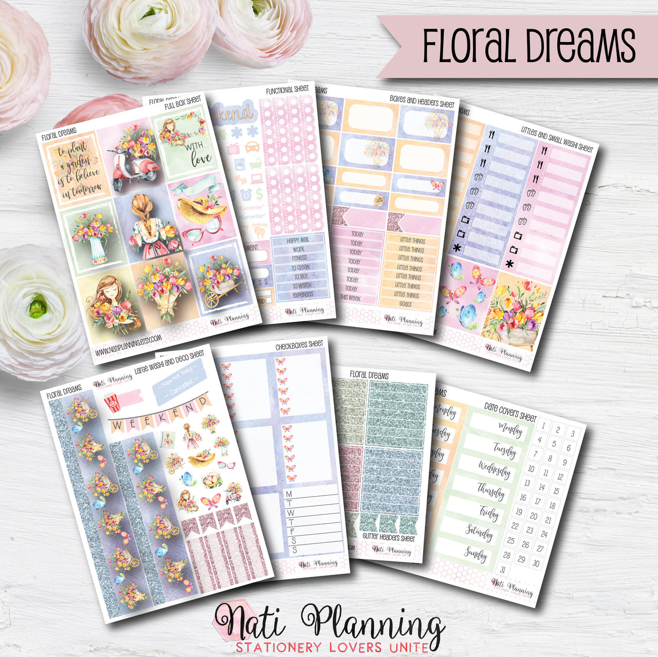Floral Dreams - INDIVIDUAL Sticker Sheets