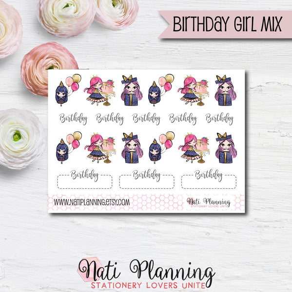 Birthday Girl MIX Stickers
