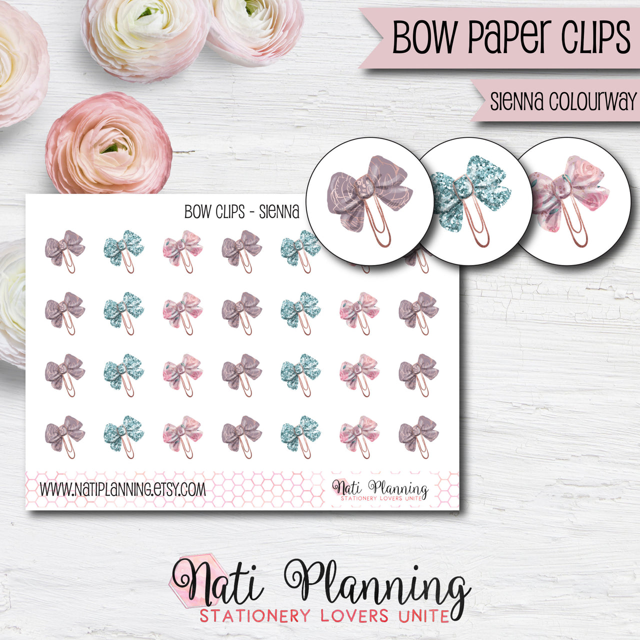 Bow Paper Clip Stickers - Sienna Colourway