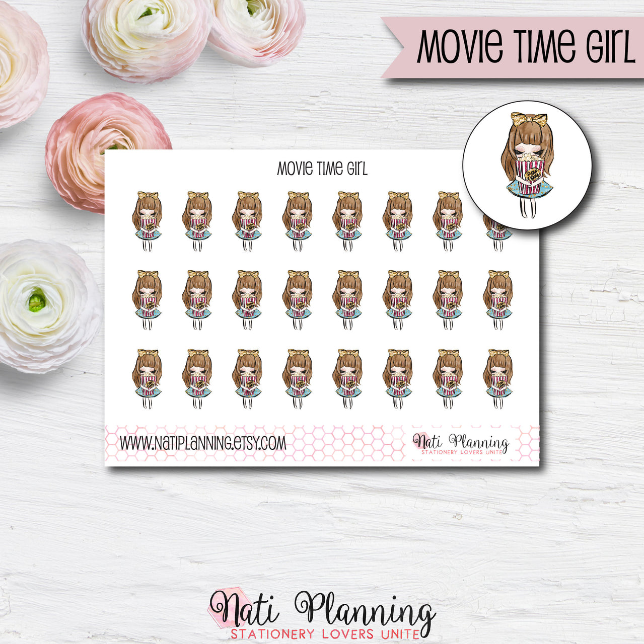 Movie Time Girl Stickers