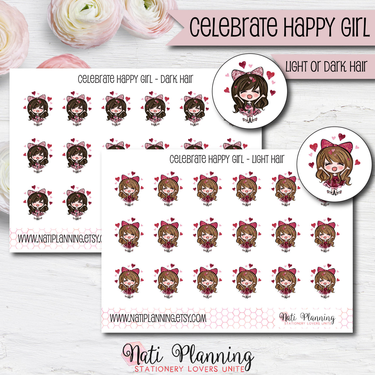 Celebrate Happy Girls Stickers