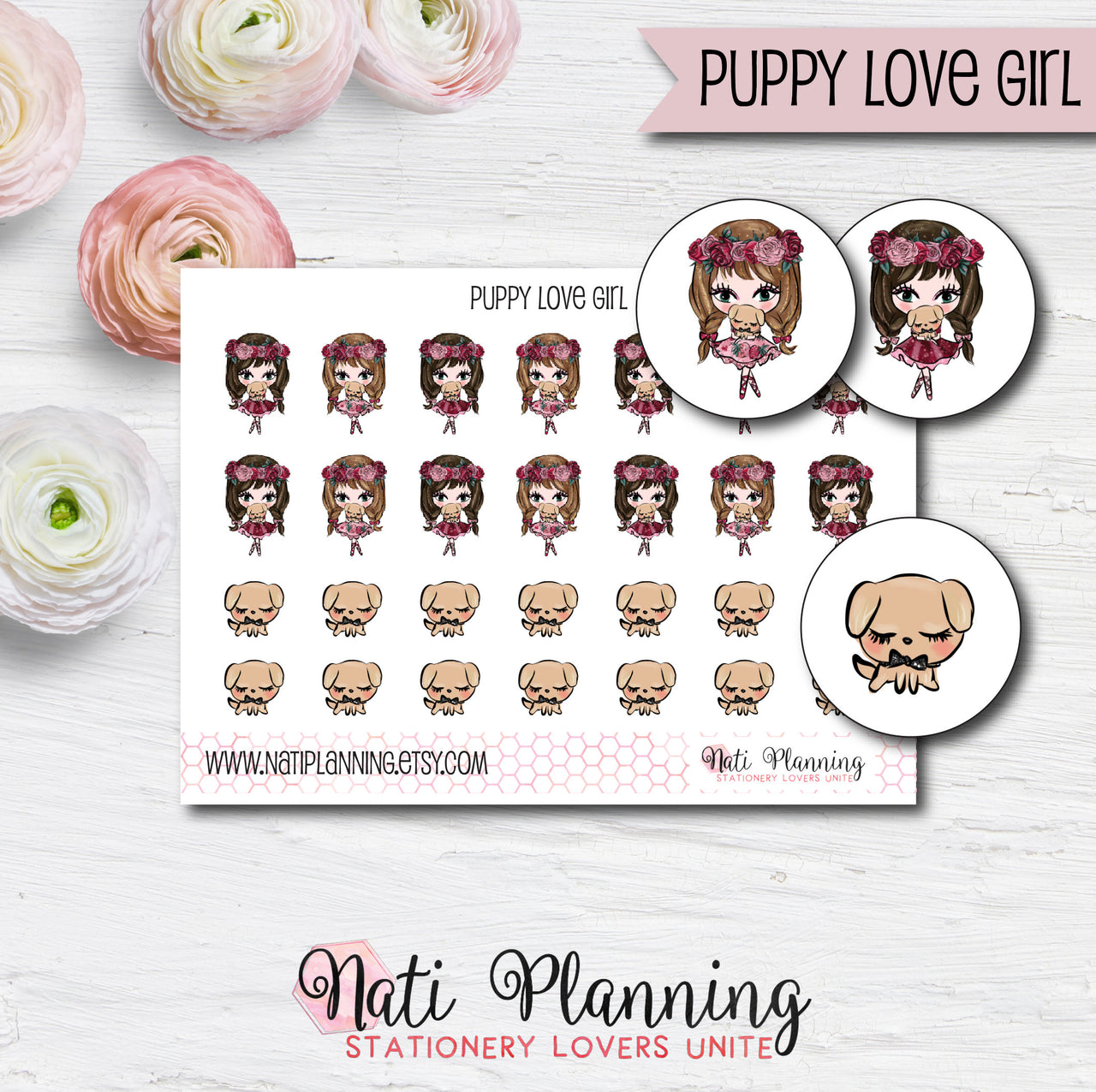 Puppy Love Girl Stickers