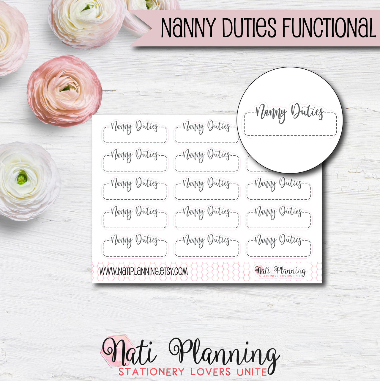 Nanny Duties Functional Script Stickers