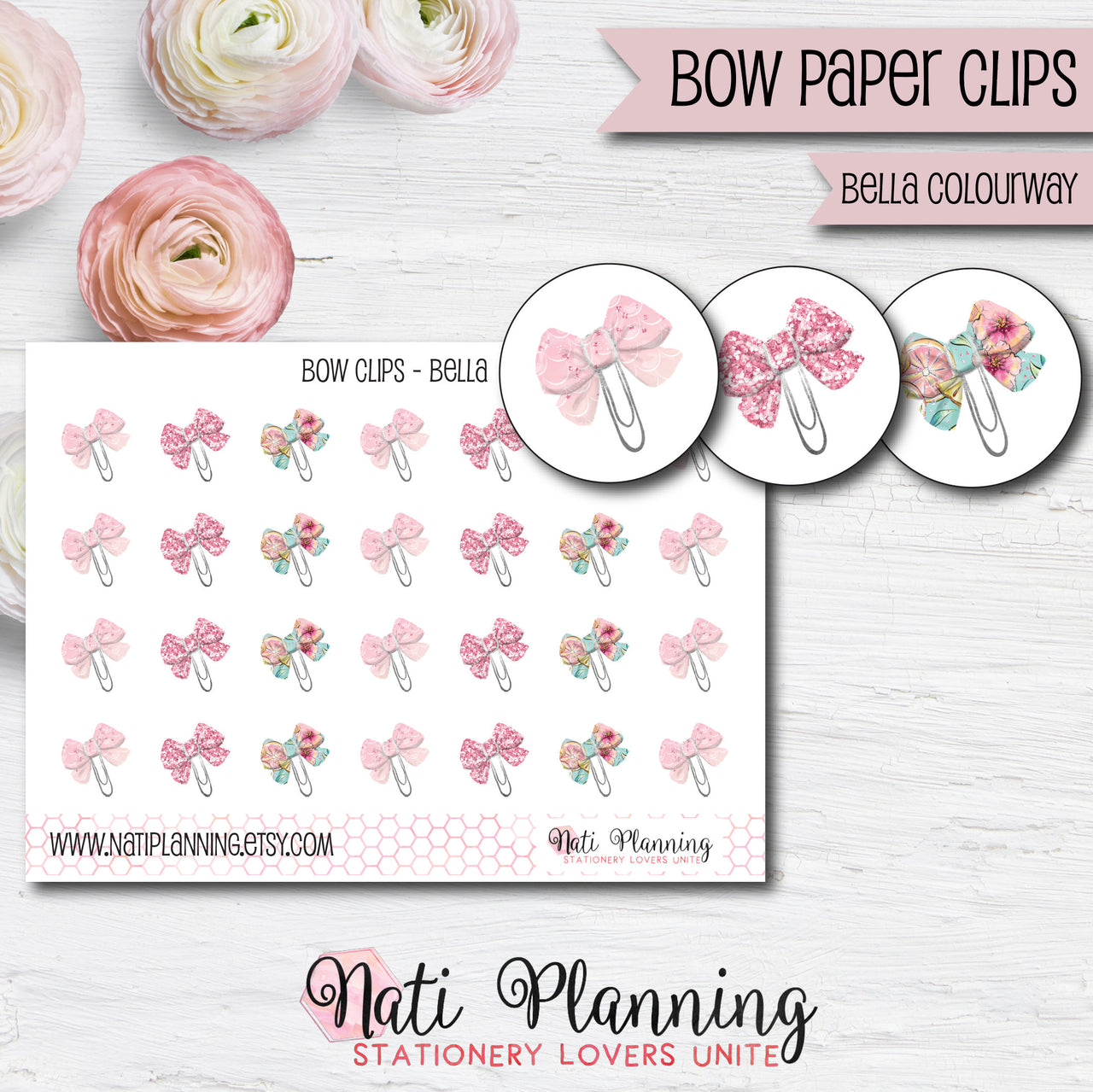 Bow Paper Clip Stickers - Bella Colourway