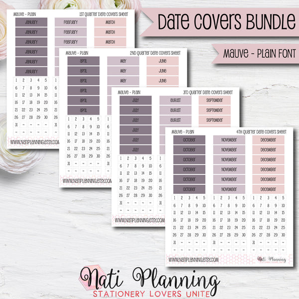 Date Cover Bundle - Mauve Plain