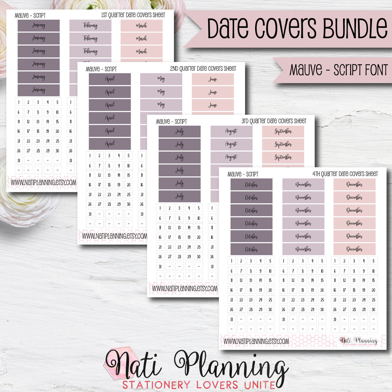 Date Cover Bundle - Mauve Script