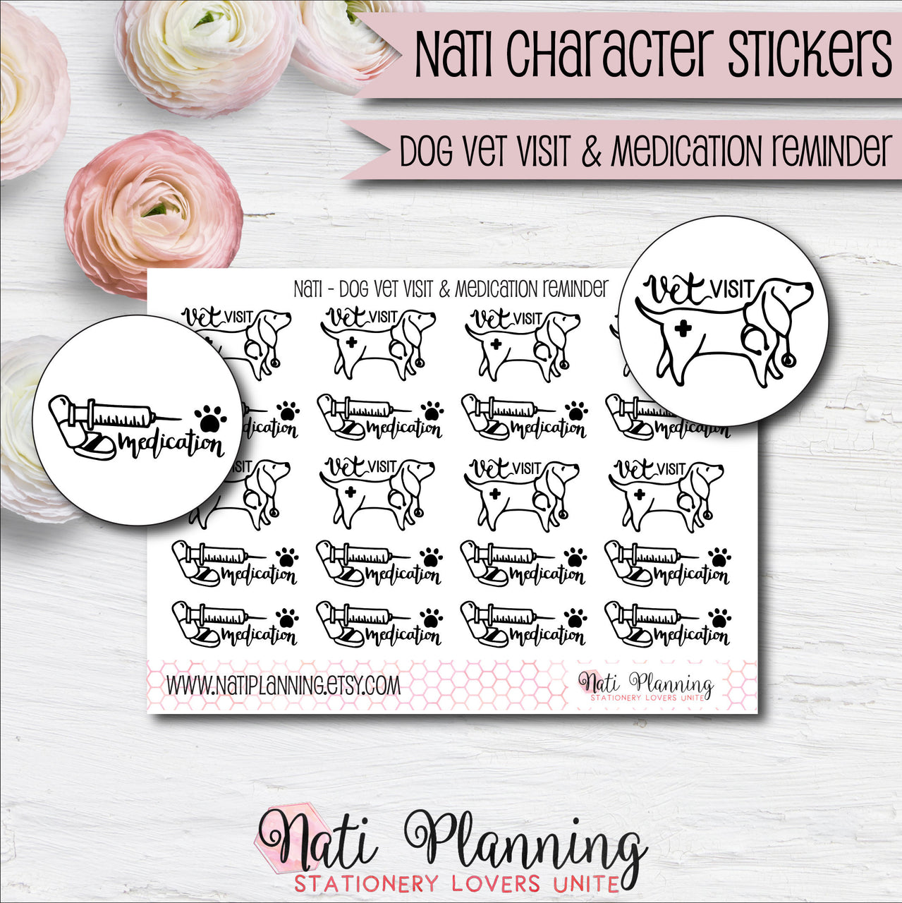 Nati - Dog Vet Stickers