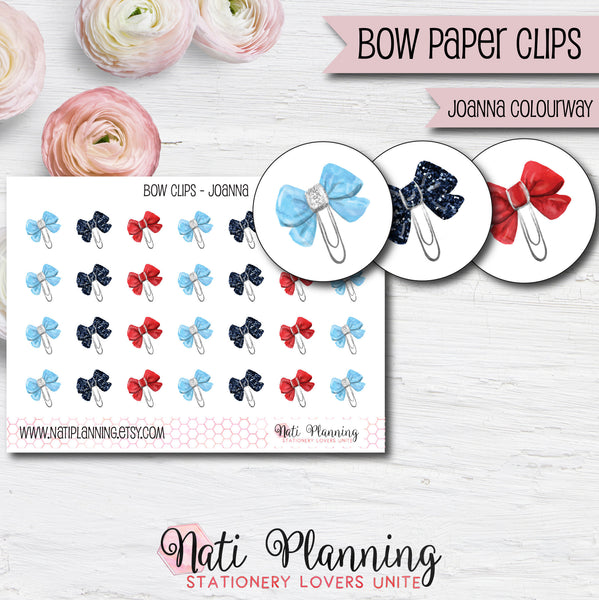 Bow Paper Clip Stickers - Joanna Colourway