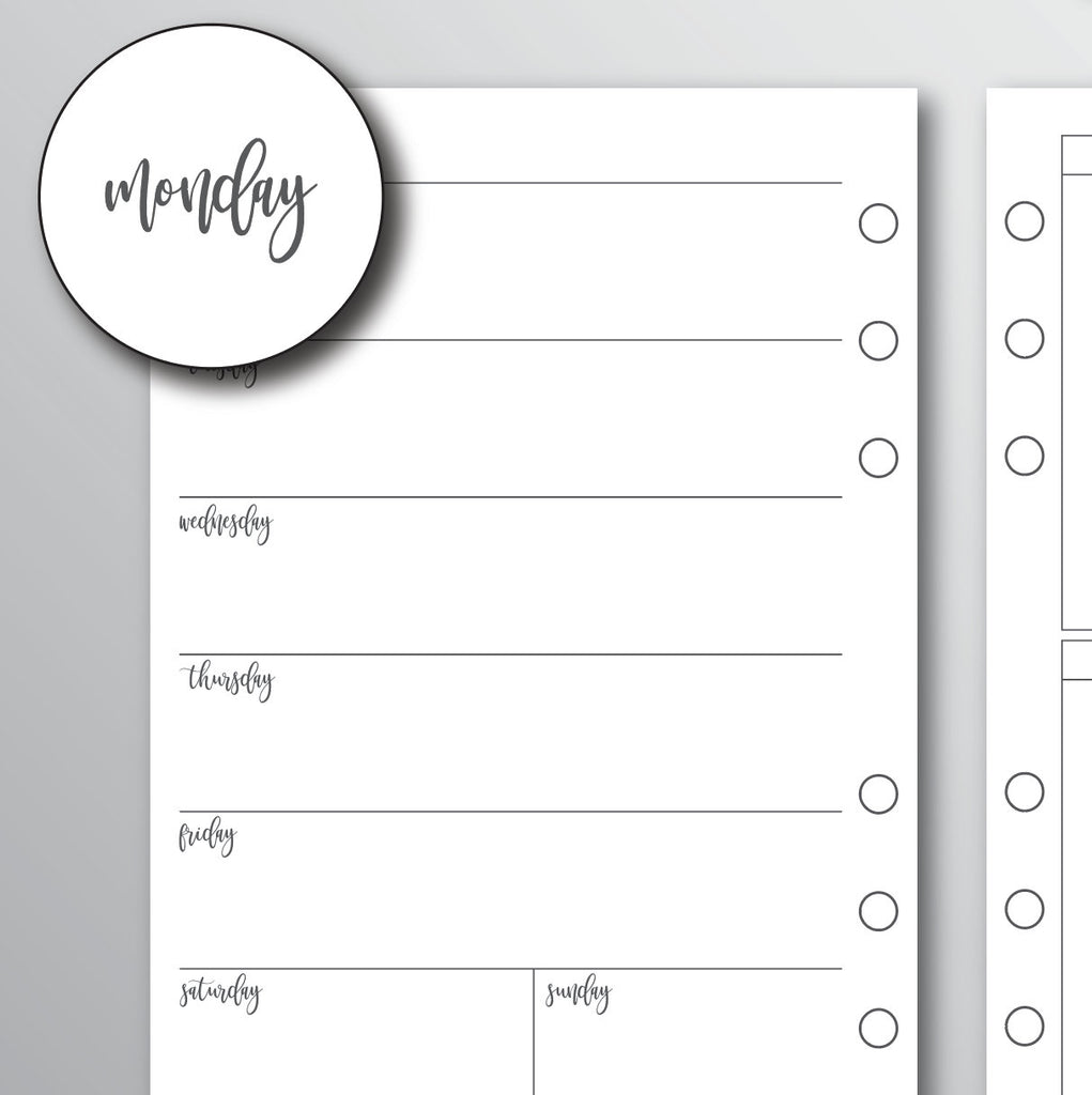 WEEKLY UNDATED Printed Planner Inserts | A5 Planner Inserts | Horizontal WO4P Planner Inserts | Kikki K Inserts | A5 Inserts | Bow Design