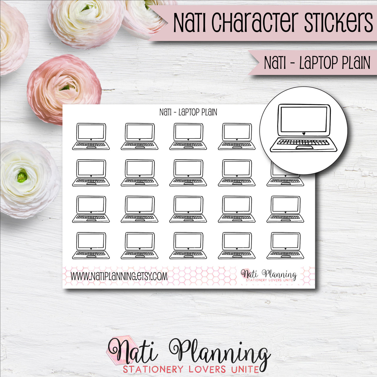 Nati - Laptop Plain Stickers