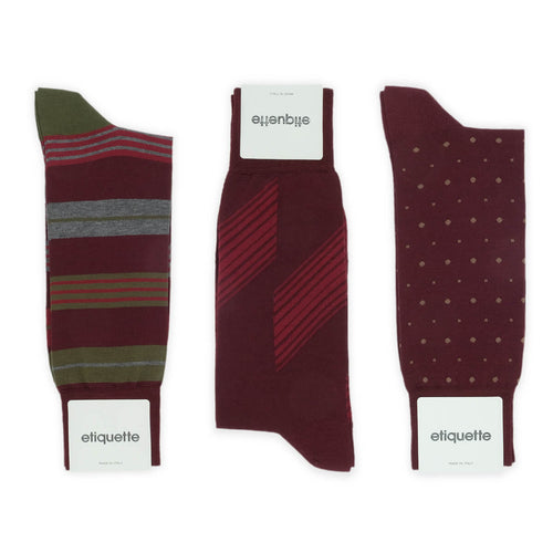 Shades of Burgundy Men's Socks Gift Box  - Alt view