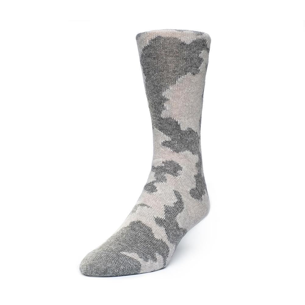 Mens Socks - Cashmere x Merino Camo Men's Socks - Grey⎪Etiquette Clothiers