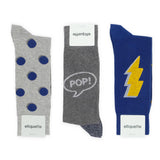 Mens Socks - Pop It Men's Socks Gift Box - Grey⎪Etiquette Clothiers