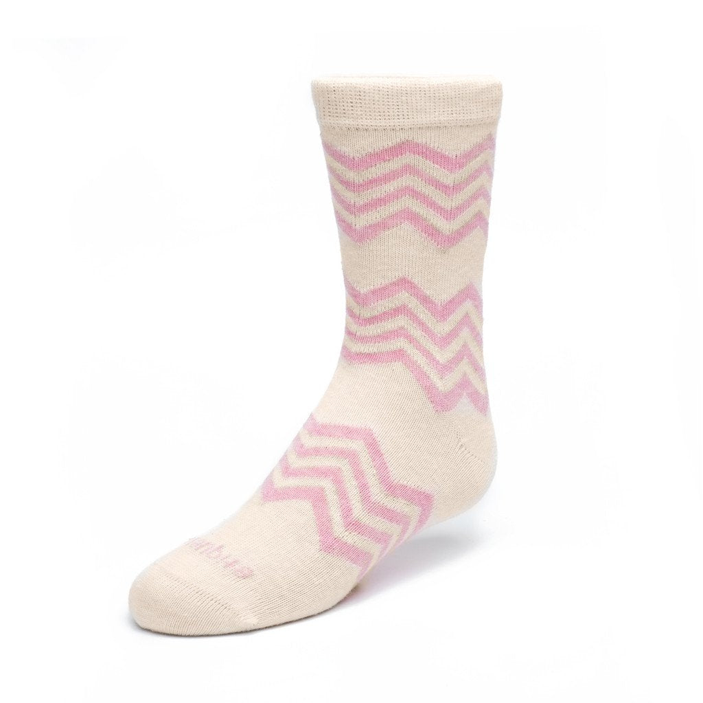 Kids Socks - Alpine Stripes - Ecru / Pink Heather⎪Etiquette Clothiers