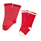 Kids Socks - Needle Stripes 2 Pack - Fire Red⎪Etiquette Clothiers