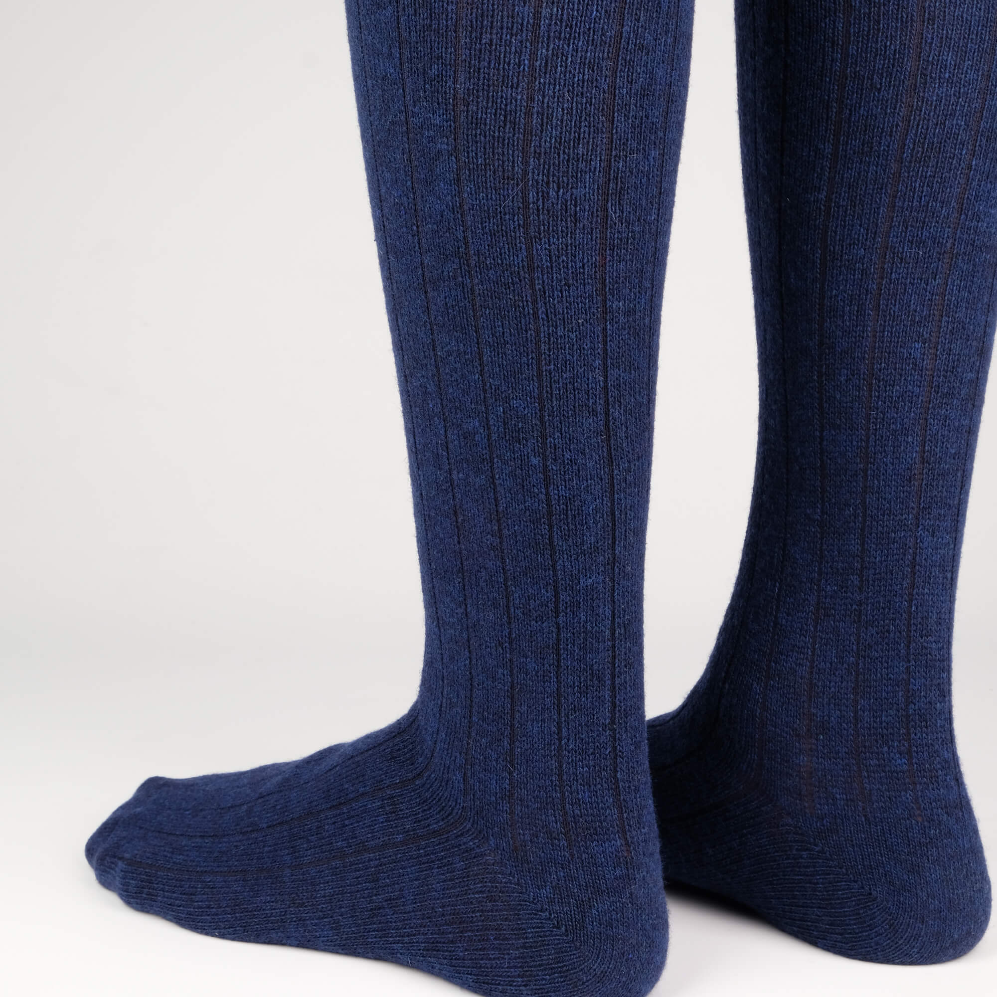Mens Socks - Cashmere Knee High Ribbed Men's Socks - Dark Blue⎪Etiquette Clothiers