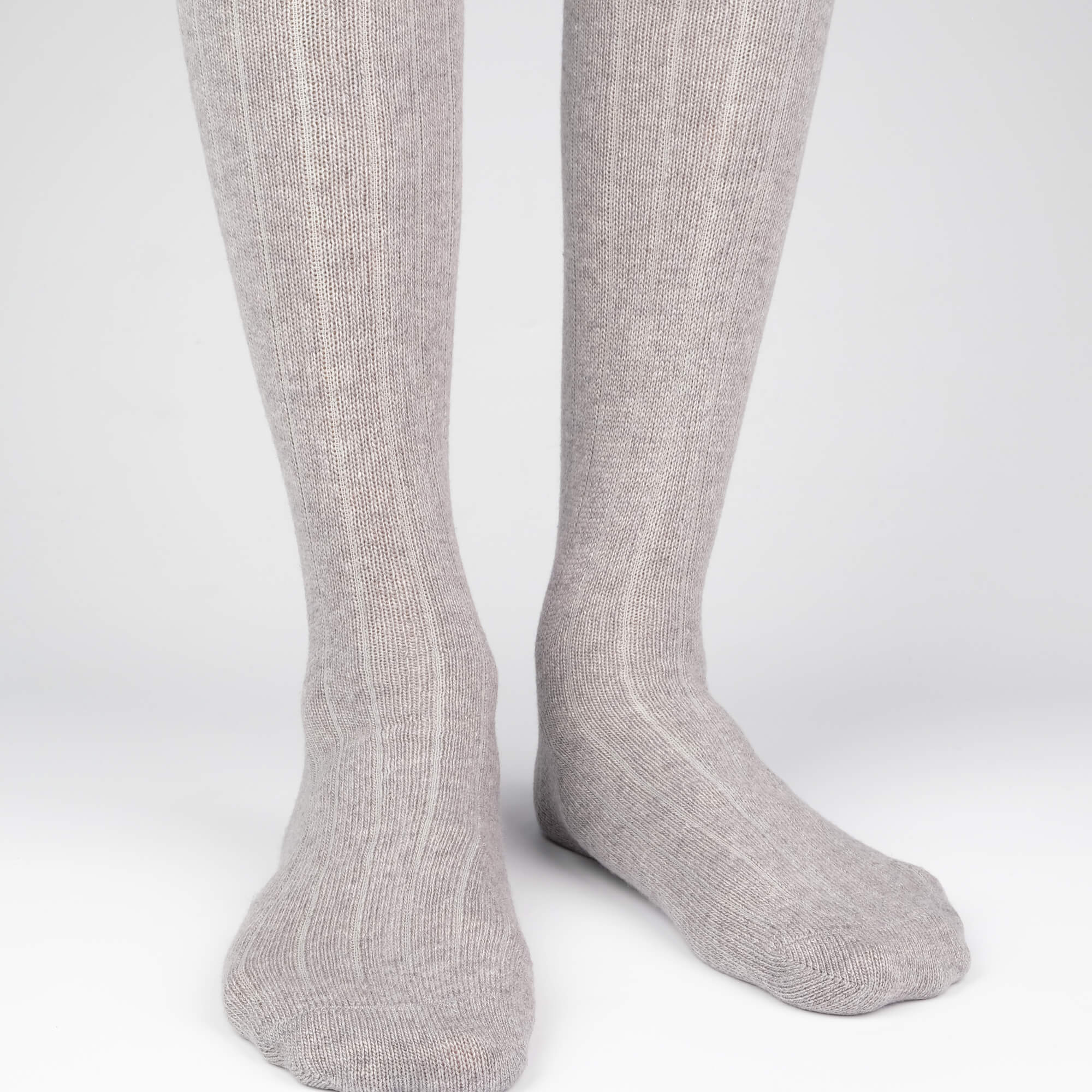 Mens Socks - Cashmere Knee High Ribbed - Grey⎪Etiquette Clothiers