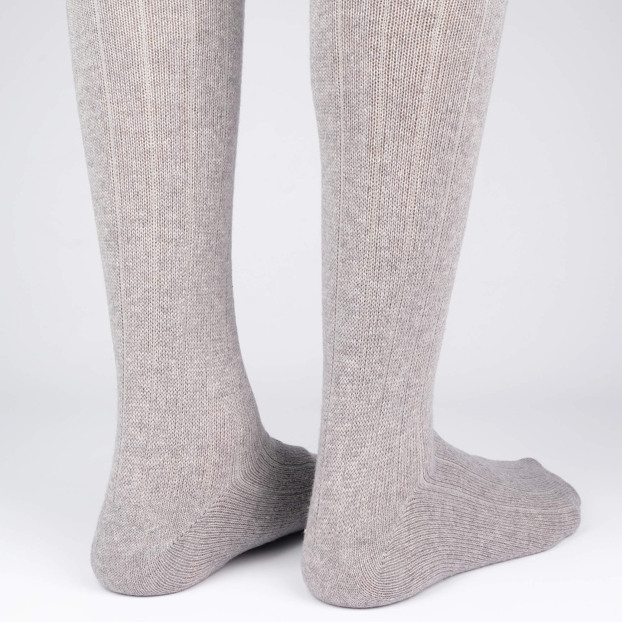 Mens Socks - Cashmere Knee High Ribbed Men's Socks - Grey⎪Etiquette Clothiers