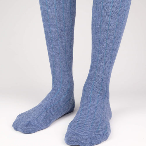 Cashmere Knee High Ribbed Men's Socks  - Alt view