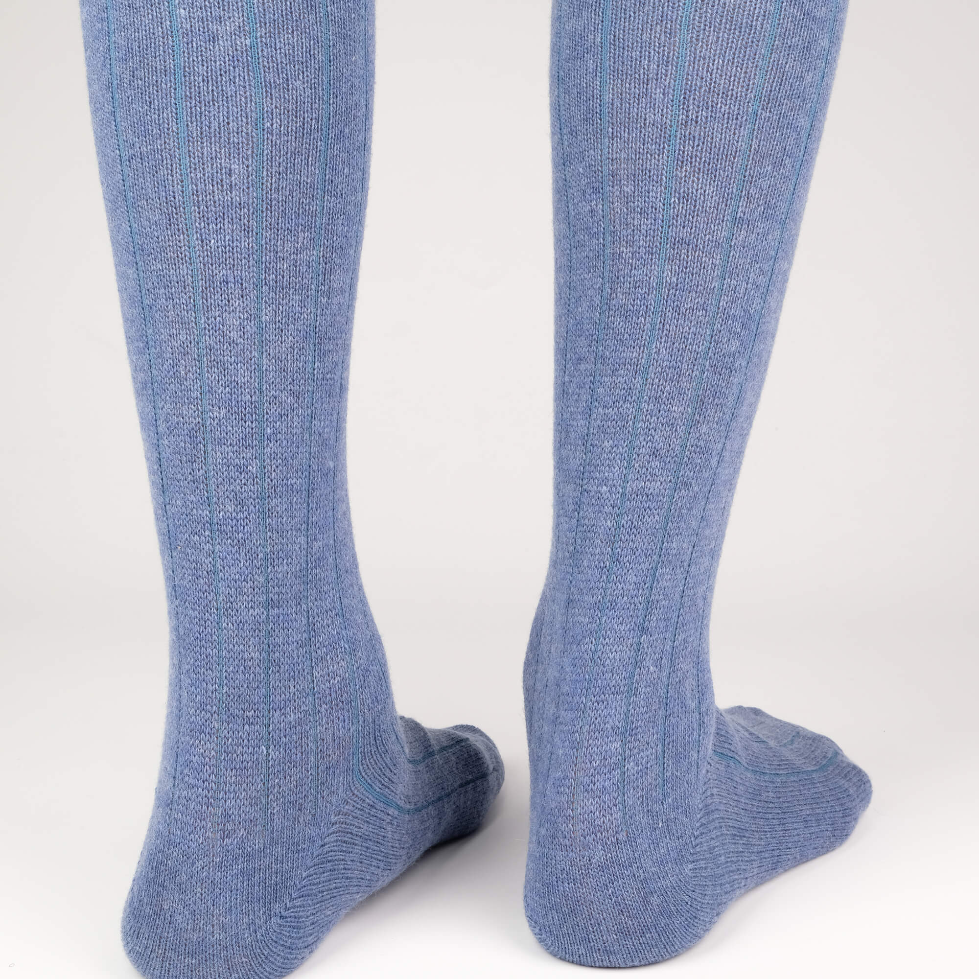 Mens Socks - Cashmere Knee High Ribbed Men's Socks - Blue⎪Etiquette Clothiers