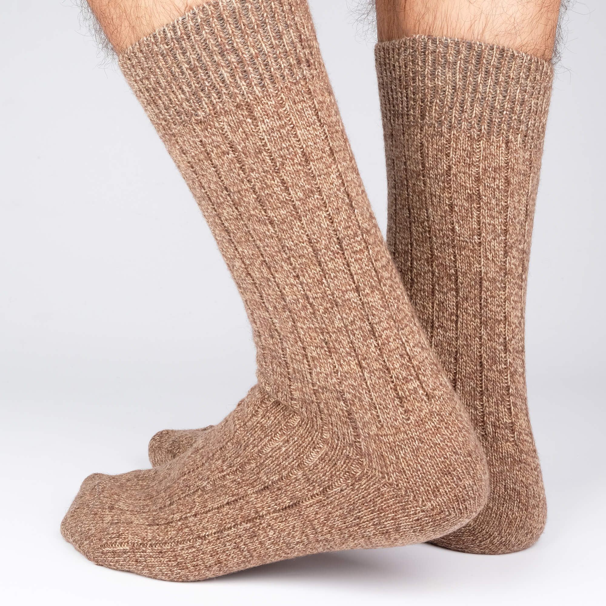 Mens Socks - Cashmere Boot Ribbed - Brown⎪Etiquette Clothiers