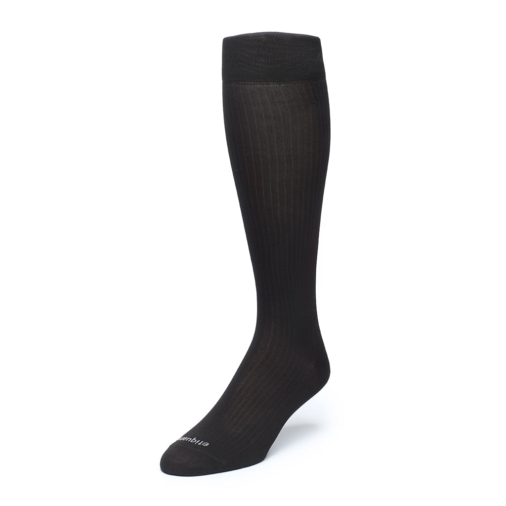 Mens Socks - Knee High Ribbed Men's Dress Socks 3 Pack - Black⎪Etiquette Clothiers