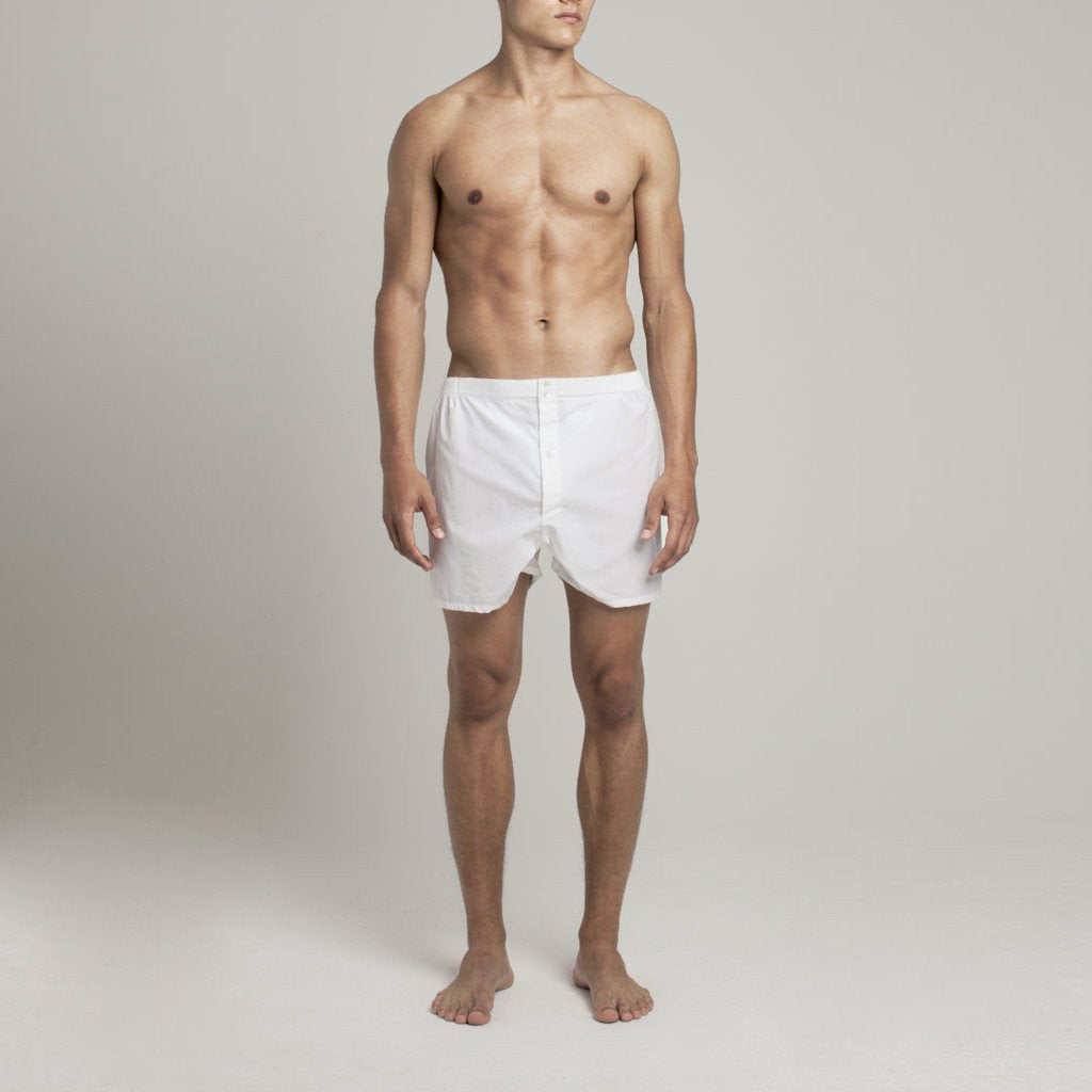 Mens Underwear - Men's Boxer Shorts - Snow White⎪Etiquette Clothiers