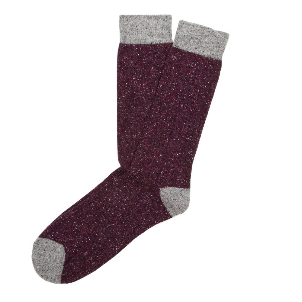 Mens Socks - Tweed Rib Men's Socks - Bordeaux⎪Etiquette Clothiers