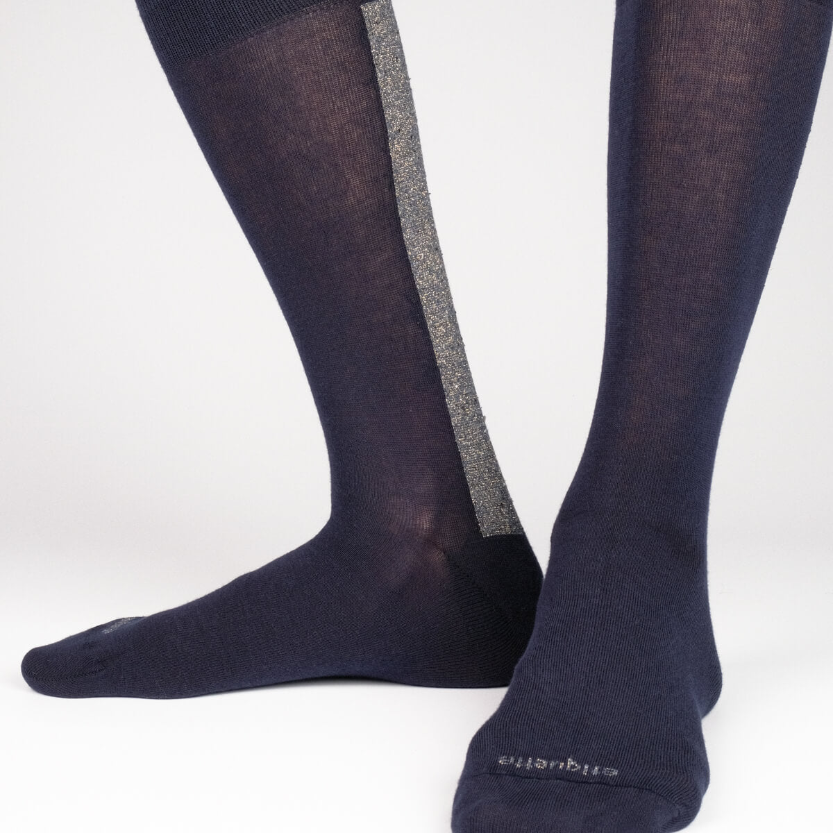 Mens Socks - Beat It Metallic Back Stripe Men's Socks- Navy Blue⎪Etiquette Clothiers