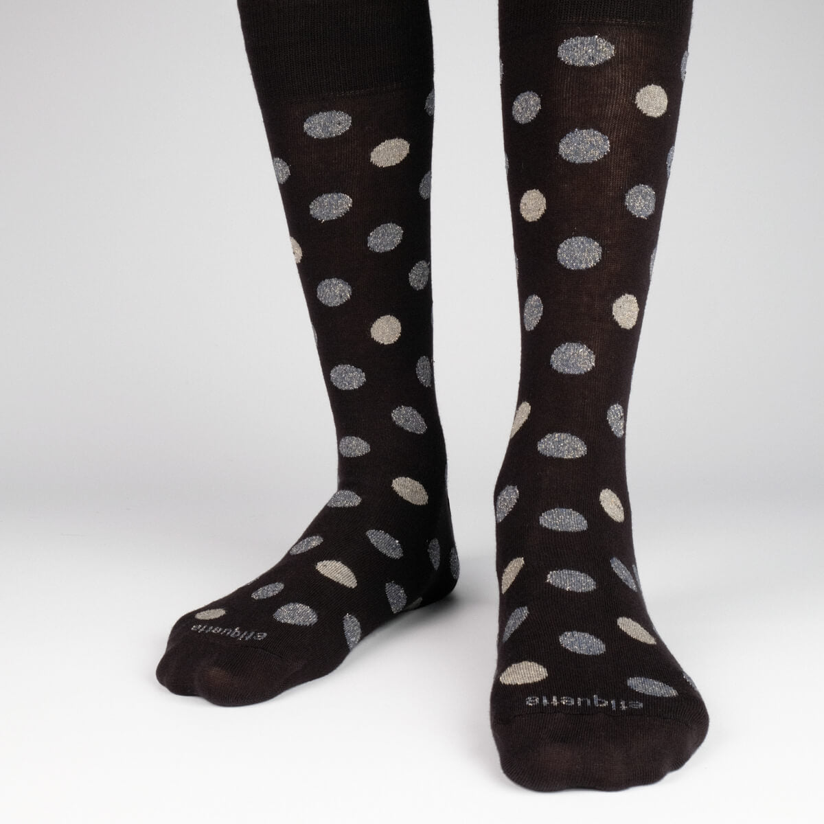 Mens Socks - Beat It Metallic Dots Men's Socks - Black⎪Etiquette Clothiers