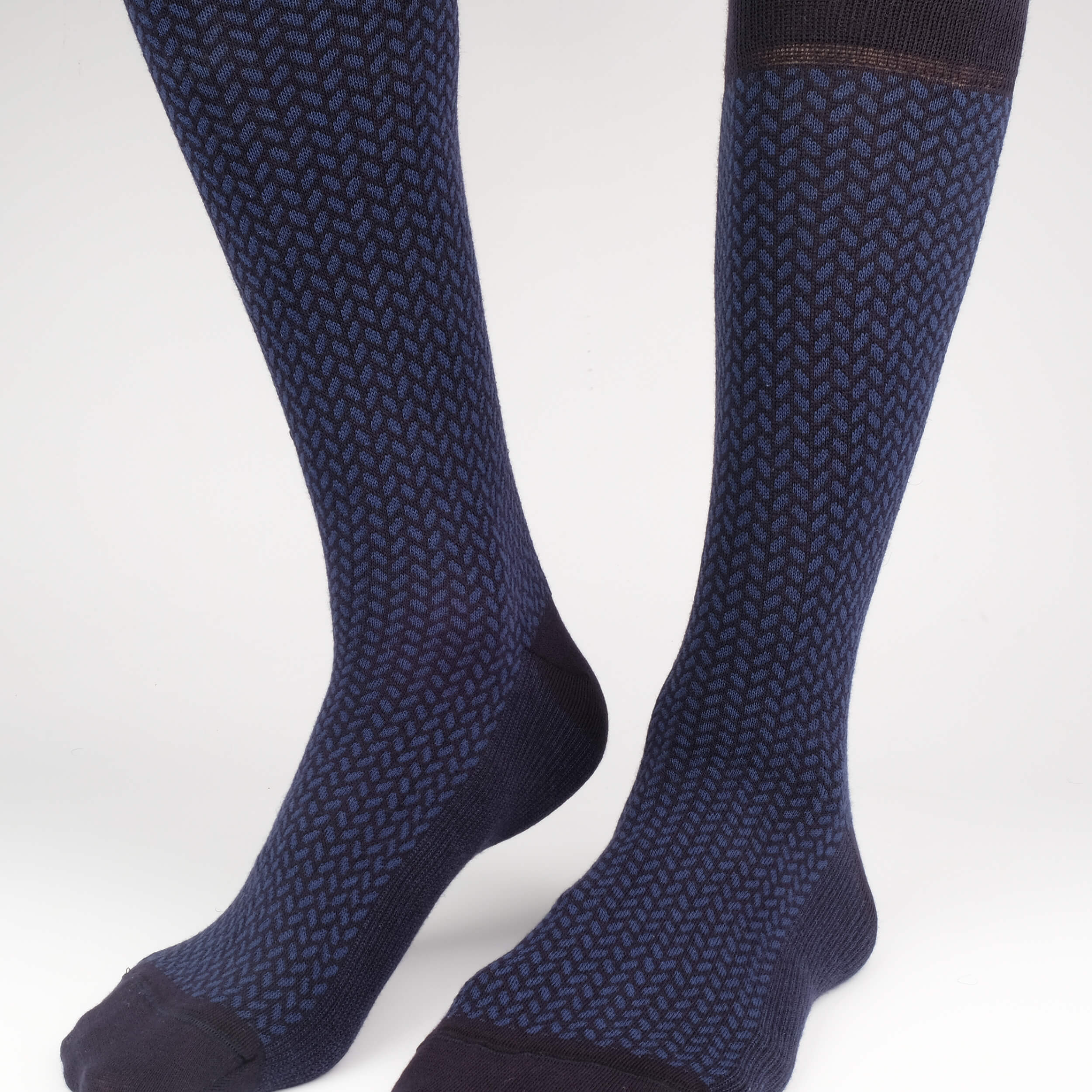Mens Socks - Herringbone Blocks Men's Socks - Blue⎪Etiquette Clothiers