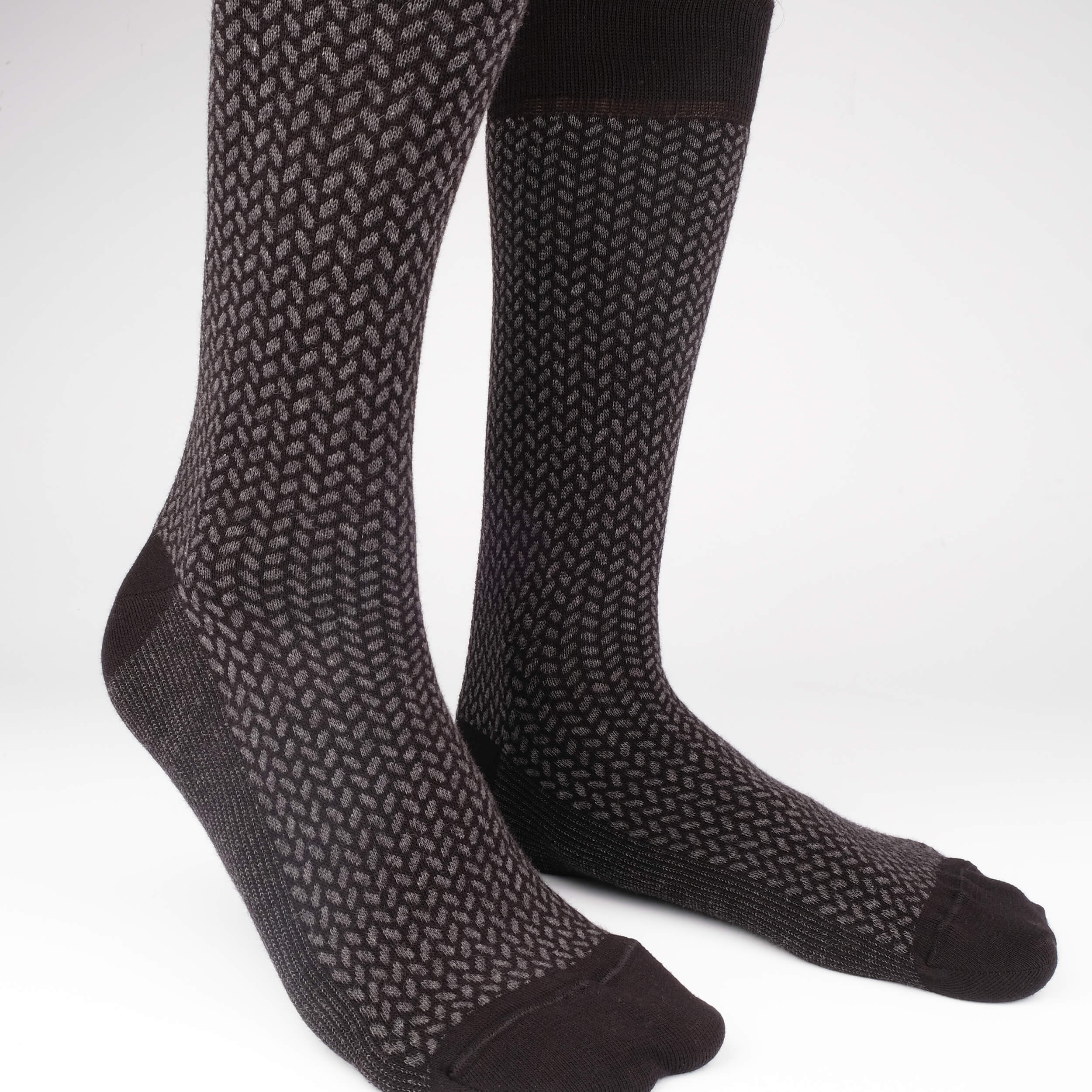 Mens Socks - Herringbone Blocks Men's Socks - Black⎪Etiquette Clothiers
