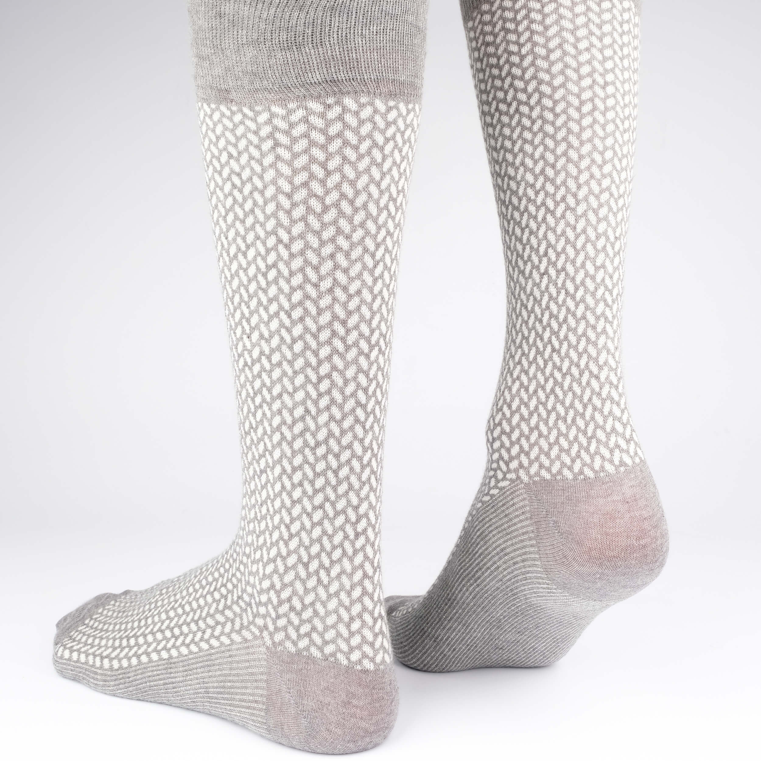 Mens Socks - Herringbone Blocks Men's Socks - Grey⎪Etiquette Clothiers