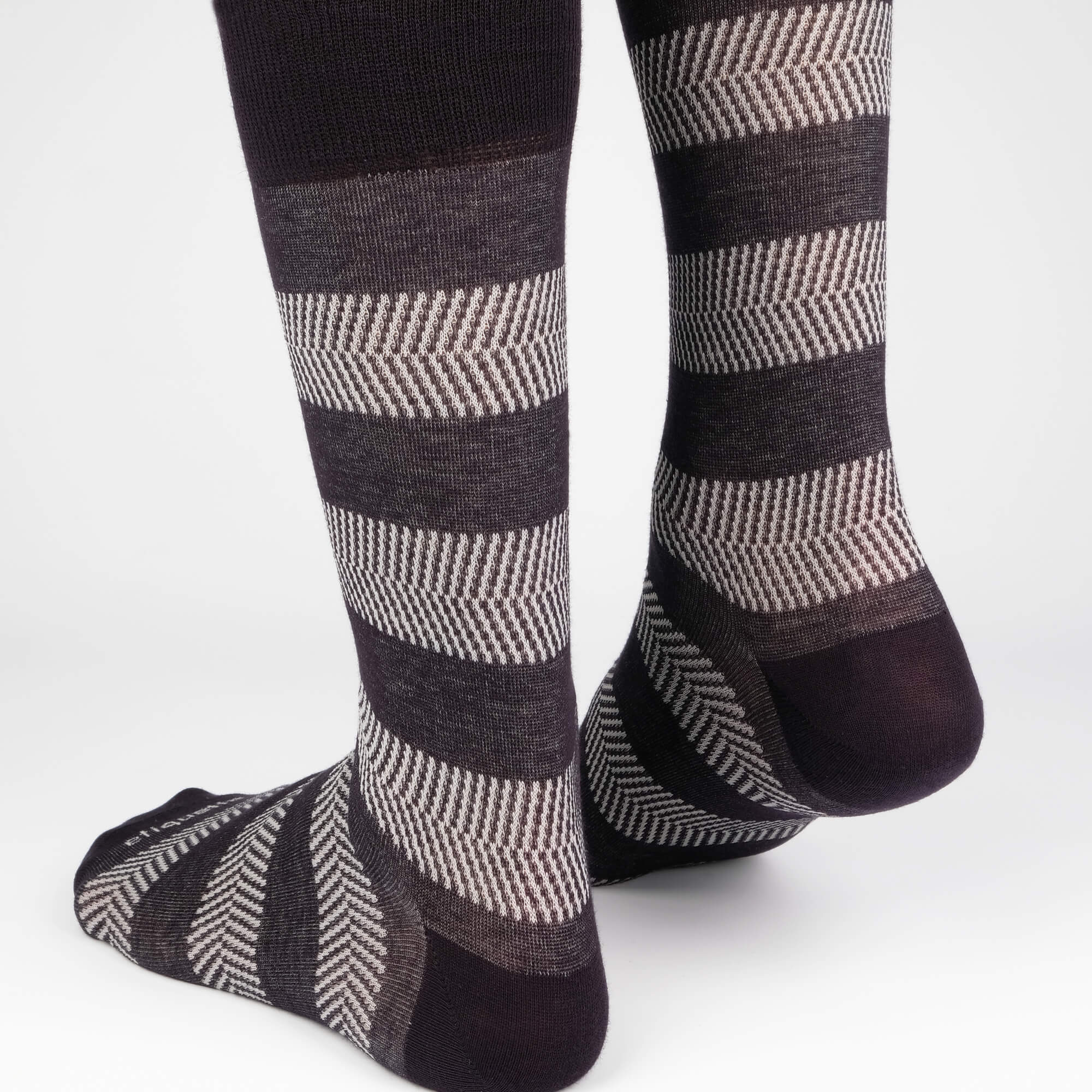 Mens Socks - Herringbone Stripes Men's Socks - Dark Grey⎪Etiquette Clothiers
