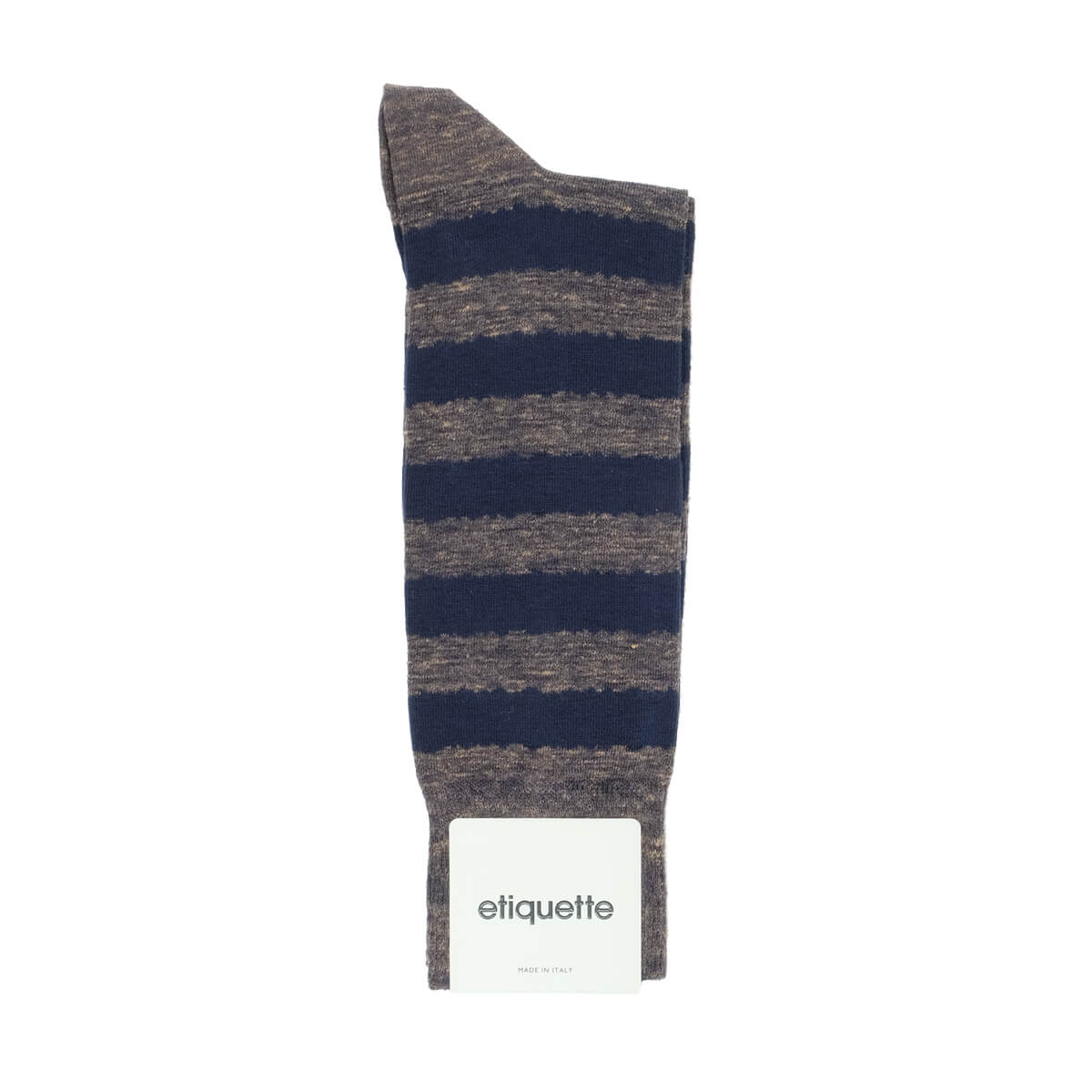 Mens Socks - Iona Stripes Slub - Brown⎪Etiquette Clothiers