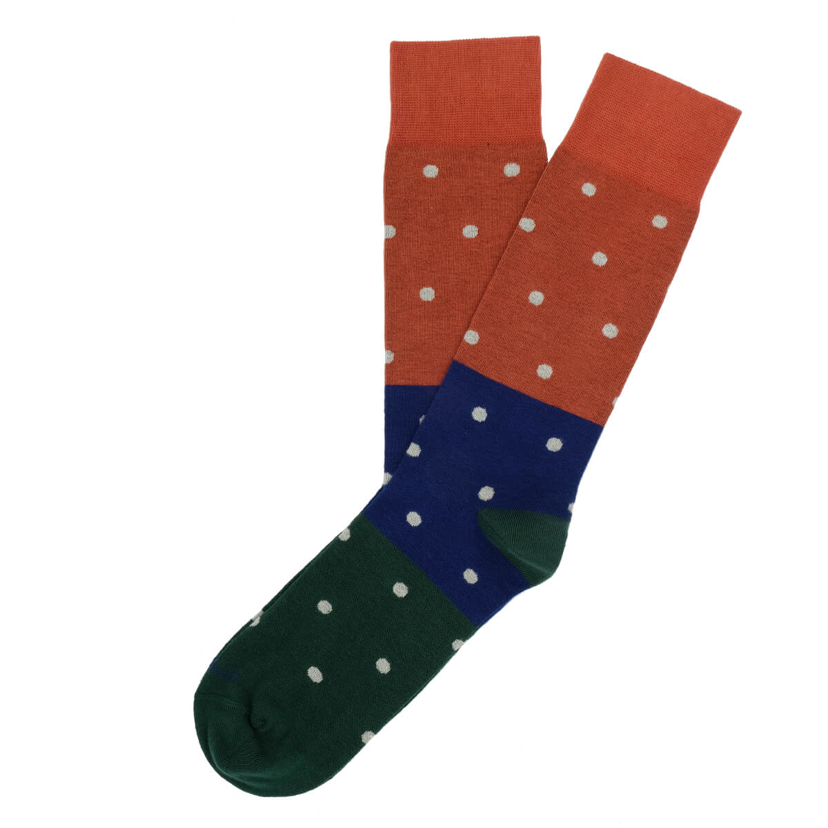 Mens Socks - Tri Polka Men's Socks - Orange⎪Etiquette Clothiers