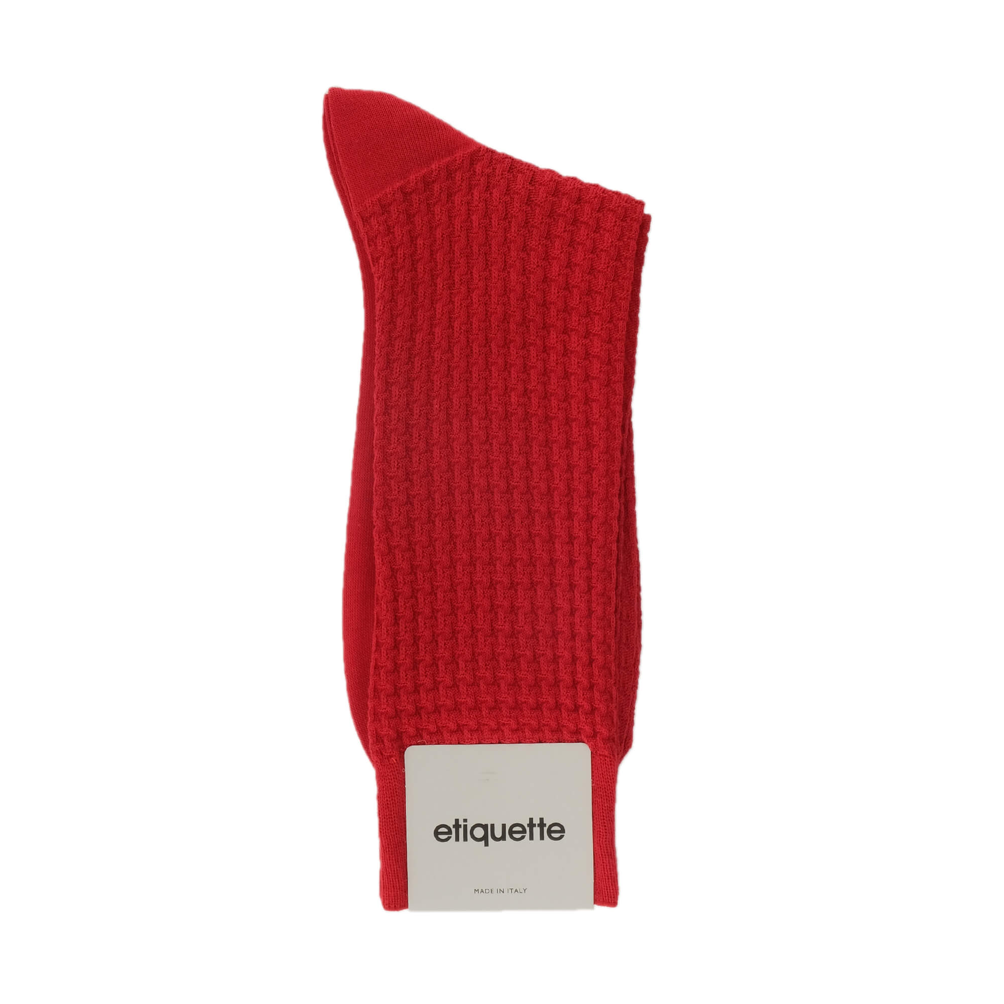 Mens Socks - Hounds Waffle Textured Men's Socks - Red⎪Etiquette Clothiers