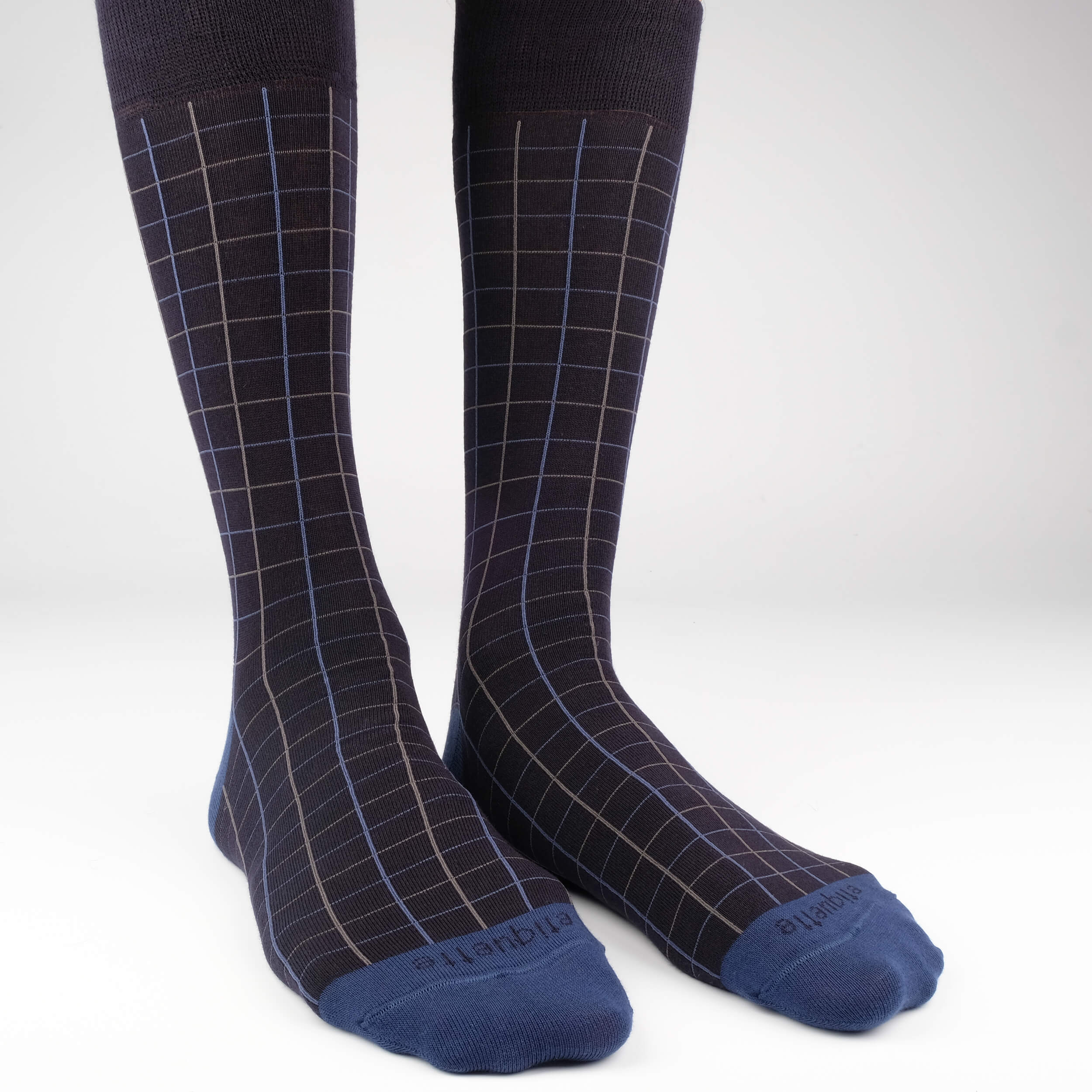 Mens Socks - Windowpane Men's Socks - Blue⎪Etiquette Clothiers