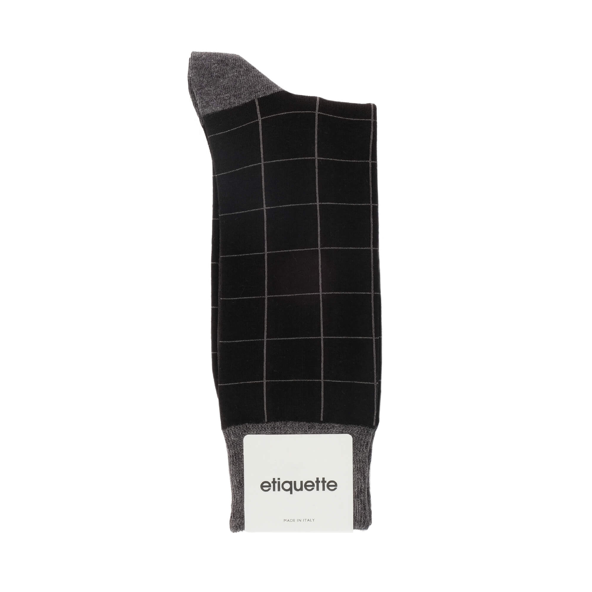 Mens Socks - Windowpane Men's Socks - Black⎪Etiquette Clothiers