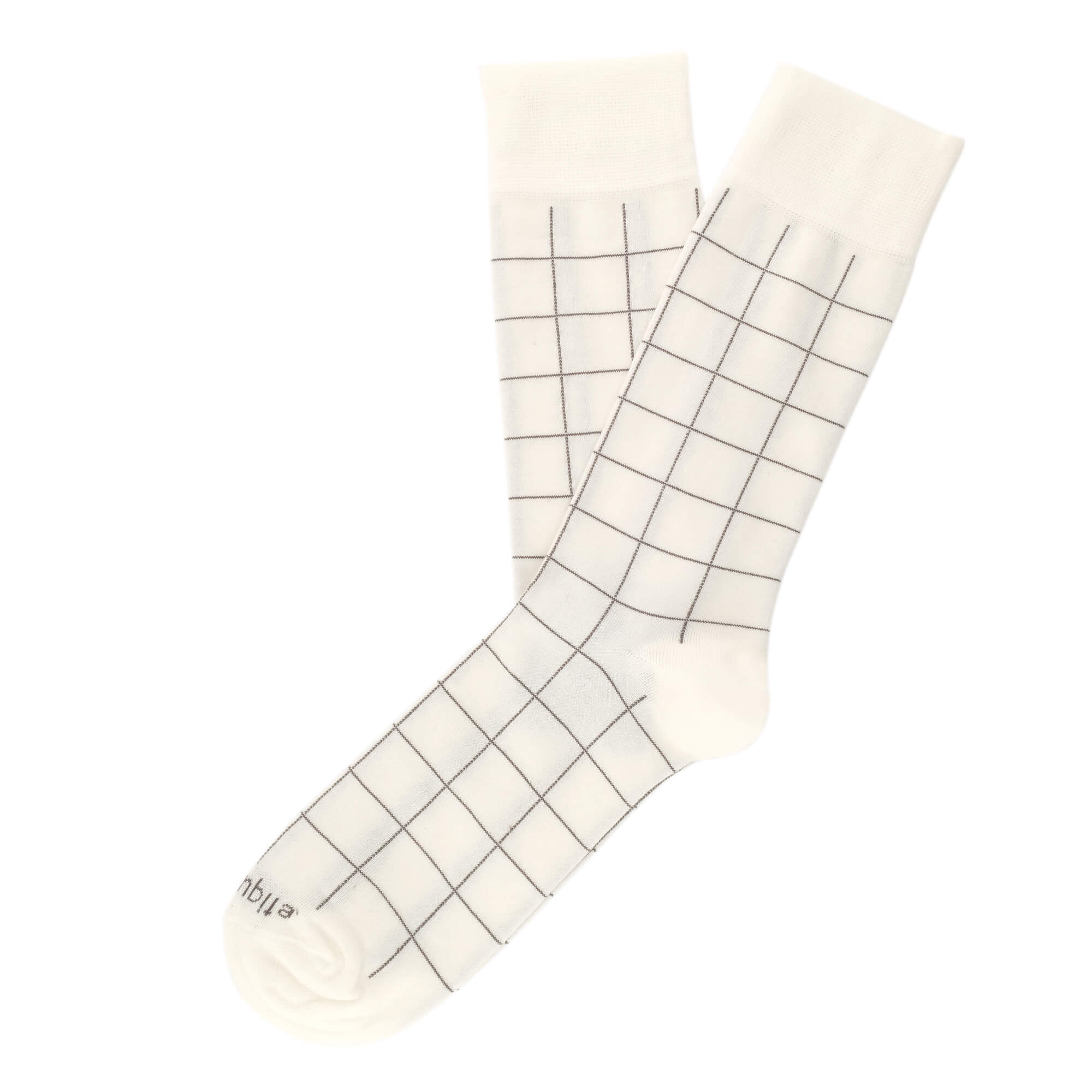 Mens Socks - Windowpane Men's Socks - Ecru⎪Etiquette Clothiers