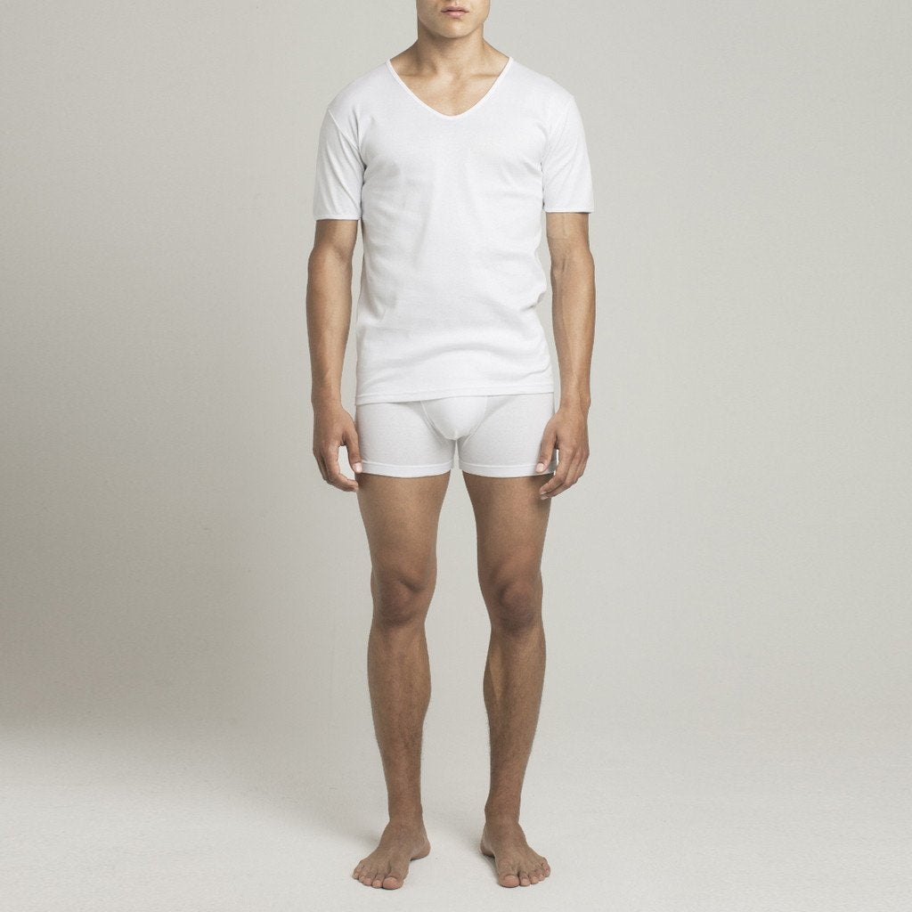 Mens Underwear - Men's Mulberry V Neck T Shirt - White⎪Etiquette Clothiers