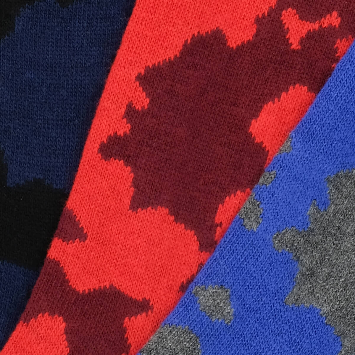 3 Pair Bundle Cashmere Camouflage - Dark Blue/Red/Dark Grey - Image 2
