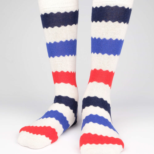 Cashmere x Merino Striped Men's Socks  - Alt view