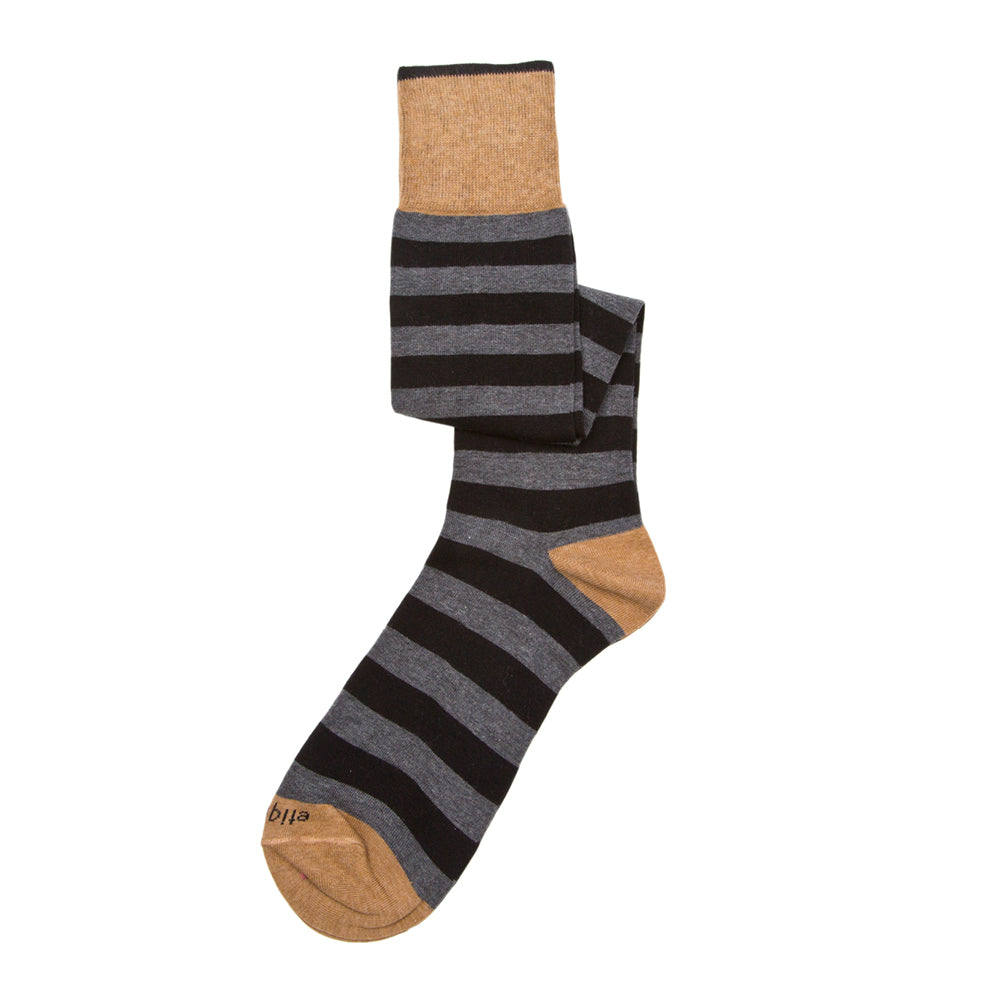 Mens Socks - Rugby Stripes Knee High - Grey⎪Etiquette Clothiers