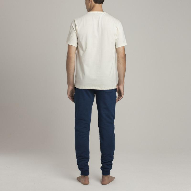 Mens Loungewear - Men's Bedford Pocket Crew Neck T-Shirt - Off white⎪Etiquette Clothiers