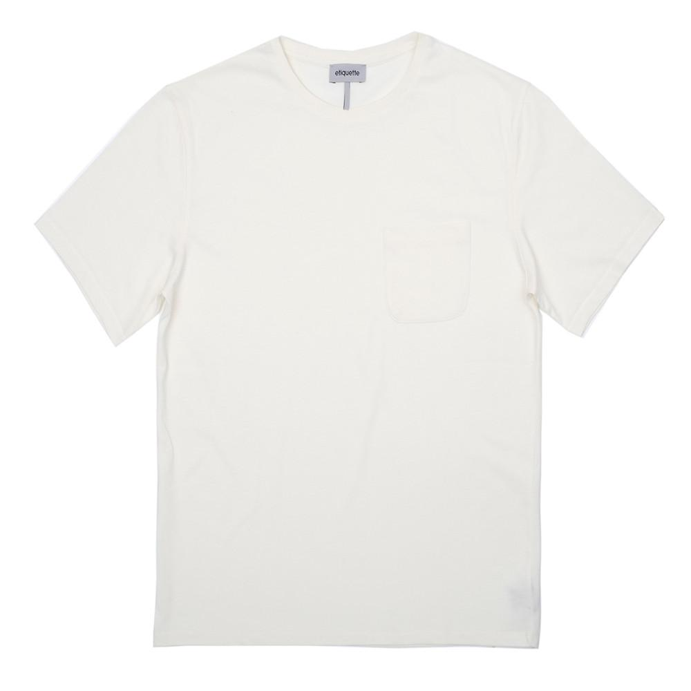 Mens Loungewear - Bedford Pocket Crew Neck T-Shirt - Off white⎪Etiquette Clothiers