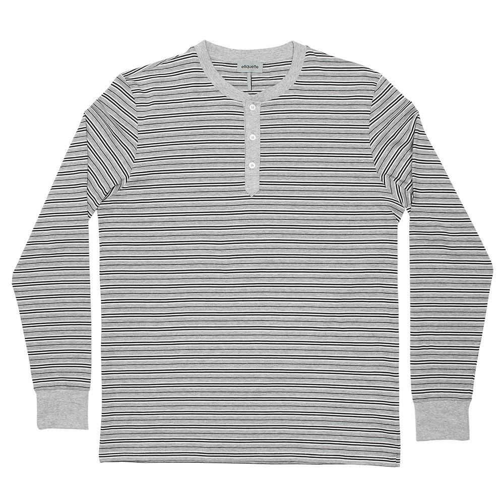Mens Loungewear - Men's George Henley Crewneck Long Sleeve - Grey⎪Etiquette Clothiers
