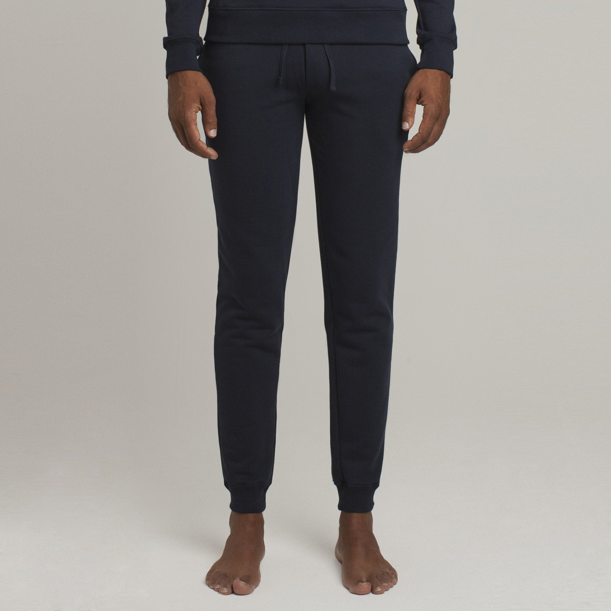 Mens Loungewear - Men's Barrow Loop Terry Sweatpants - Dark Blue⎪Etiquette Clothiers