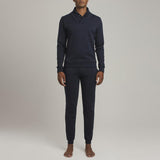 Mens Loungewear - Men's Hudson Loop Terry Shawl Sweater - Blue⎪Etiquette Clothiers
