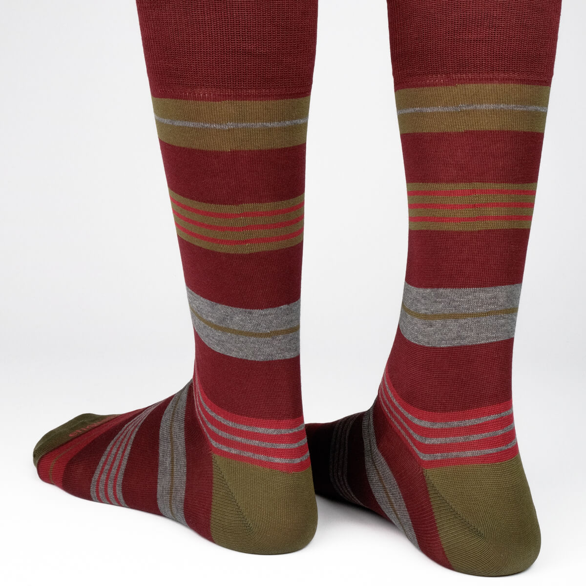 Mens Socks - Amsterdam Stripes Men's Socks - Bordeaux⎪Etiquette Clothiers